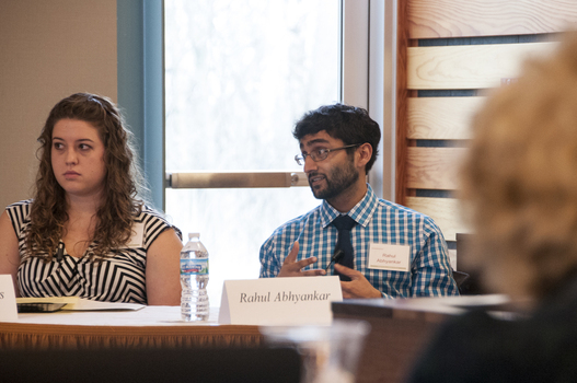 "Jennifer Behrens '11 (left) and Rahul Abhyankar '11 (right) spoke as guest panelists during the 2013 Boswell Symposium ""Dying in a Democracy"""