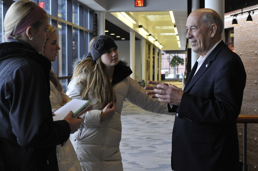 ESPN founder Bill Rasmussen '54 talks with students in the PCCM.