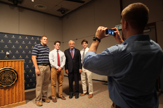 Ron Paul poses with DePauw students; Sept. 10, 2013