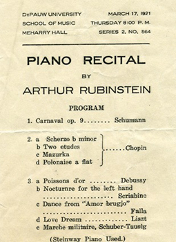 1921—Legendary pianist Arthur Rubinstein gives a recital in Meharry Hall on March 17