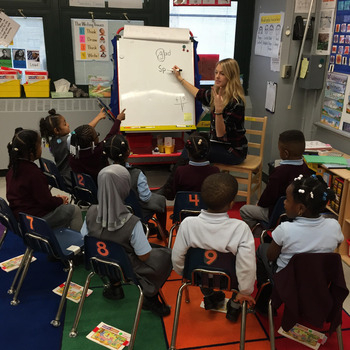 Sarah Stricker ('14) teaches kindergarten in Uncommon Schools in Brooklyn.