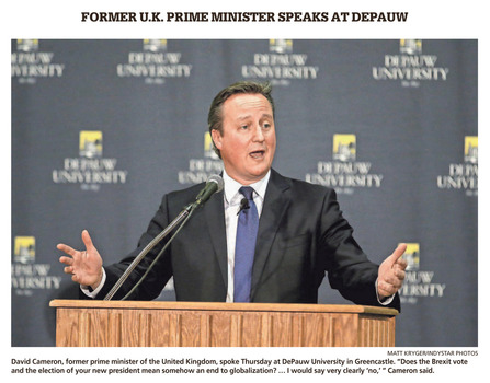 Indianapolis Star coverage of the Dec. 8, 2016 Ubben Lecture by David Cameron.