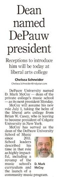 The announcement of DePauw's 20th president in the Indianapolis Star.