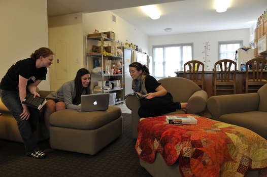 Students in the common area of a Rector Village Suite.