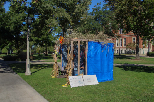 The Sukkah is always erected between East College and Stewart Plaza.