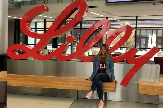 Sydney Wysong '20 during her semester long internship at Eli Lilly and Company.