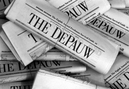 Stack of The DePauw newspapers rubber banded