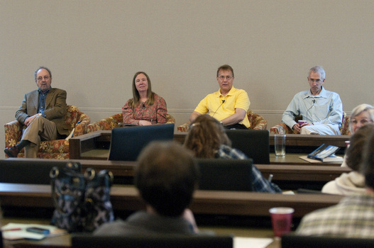 Claudia Mills (center) with Bob Steele (left), David Perry (center) and David Sloan Wilson (right) at the 2010 Undergraduate Ethics Symposium