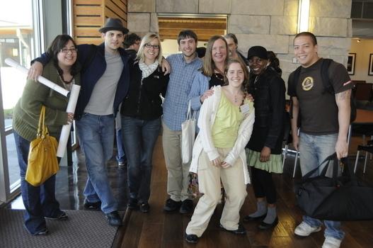 Claudia with student-scholars following the 2009 Undergraduate Ethics Symposium