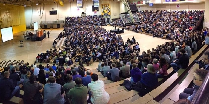 Elevated view of the opening convocation for DePauw Dialogue 2015