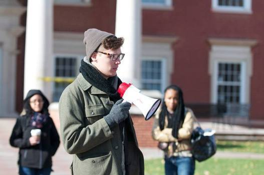 Conner at a Black Lives Matter protest in 2014.