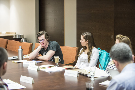 Students workshop their essays at the 2014 Undergraduate Ethics Symposium