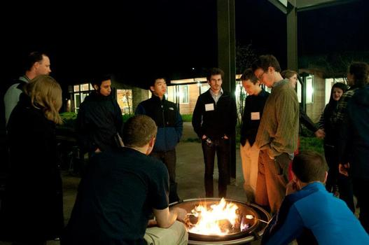 A bonfire for student scholars after a long day of discussion.