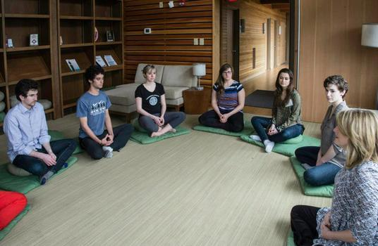 A meditation class during the lunch break on Friday.