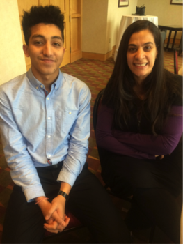 Member Mohammad Hussain (Mo), '18 with Muslim comedian, Maysoon Zayid