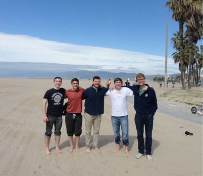 DePauw Debaters seek inner peace at Venice Beach before the start of the NEDA National Tournament.  Pictured (left to right): Liam Byrnes, Danny Schultz, Matt Piggins, Jack Wlliams, Mickey Terlep.