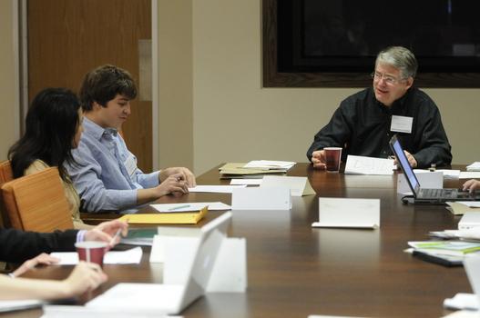David Smith leading discussion in 2009 Undergraduate Ethics Symposium