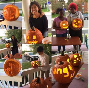 Collage of various Halloween pumpkin carving designs