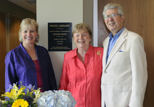 Pat Wood, Jean Wood and Maurice Wood '50 at the Wood Library dedication ceremony