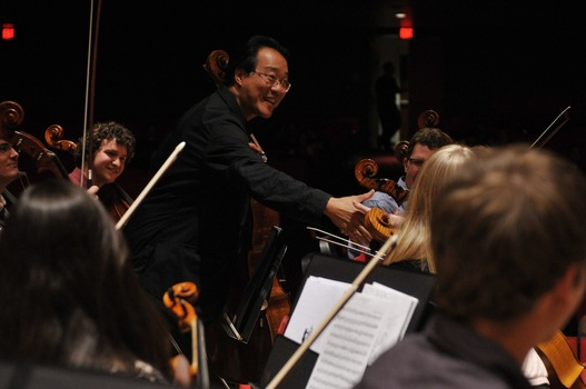 Yo-Yo Ma with DePauw's Orchestra.