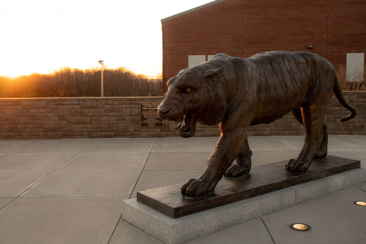 Tiger statue at sunset