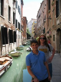 Students along a water way in Venice