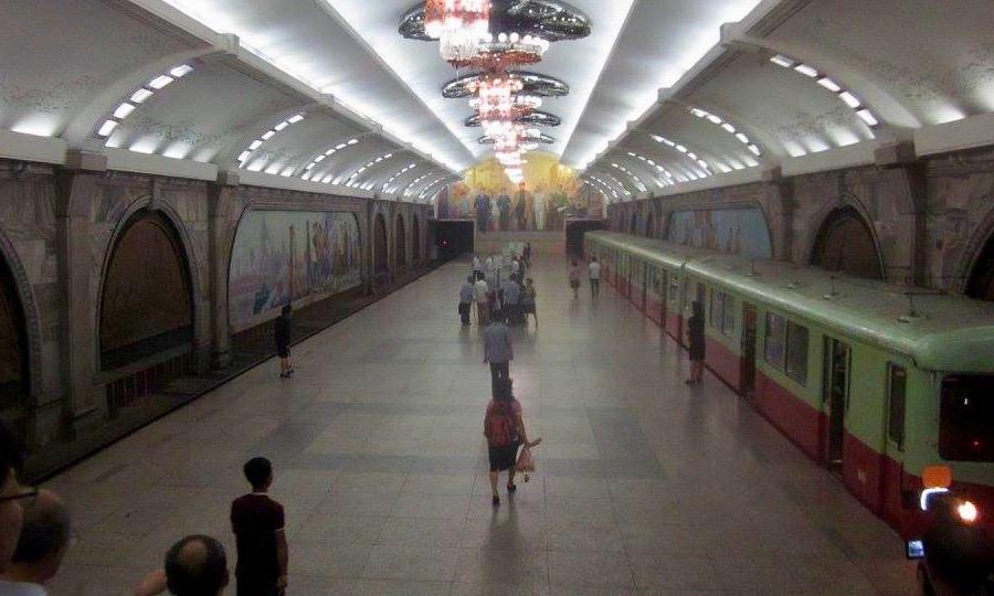 A North Korean subway station.