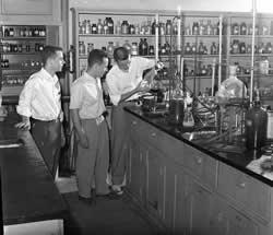 Howard Burkett in Lab, 1952