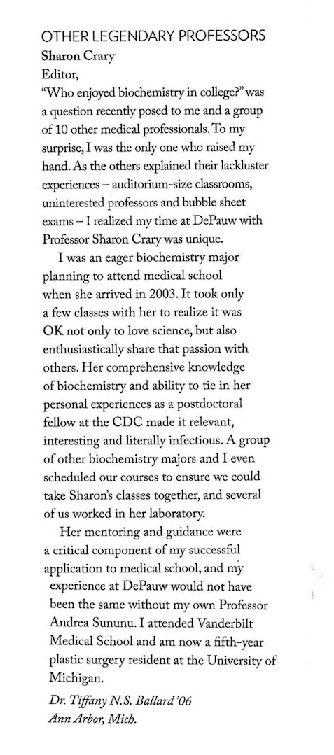 Quote from the 2015 DePauw Magazine about Sharon Crary
