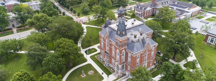 Aerial photo of East College and DePauw's academic quad