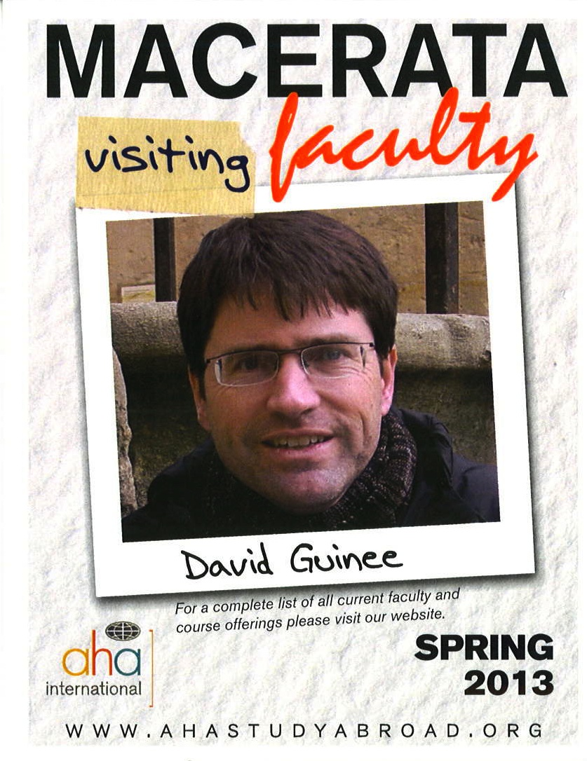 David Guinee visiting faculty advertisement including headshot