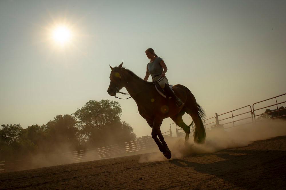 Hannah Hearon '19 rides her American Quarter Horse.