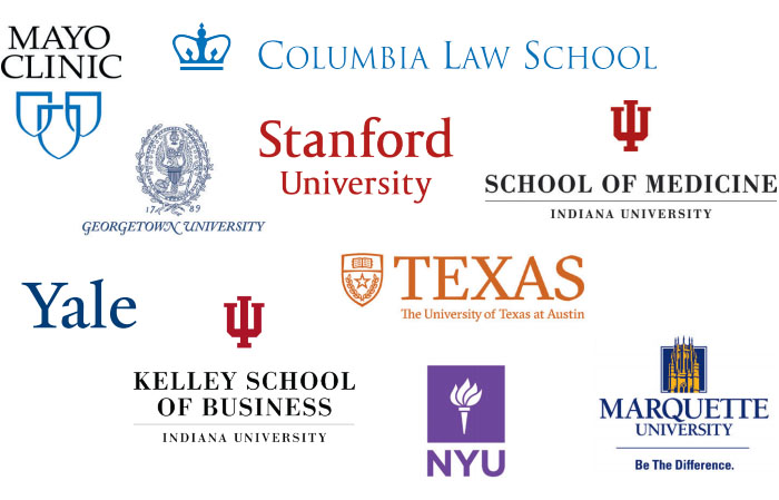 Logos for graduate programs attended by honor scholars