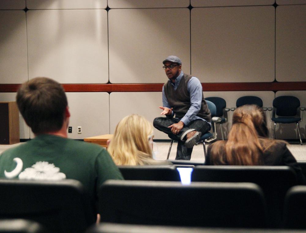 Bretin Mock speaks to students