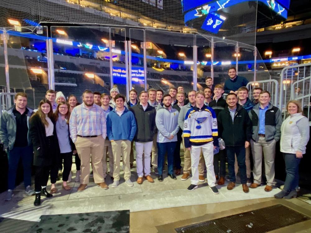 Students visit the St. Louis Blues