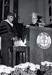 Dr. Percy Julian accepting an award at DePauw