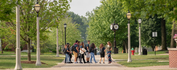 admission counselor giving a tour on DePauw's academic quadrangle