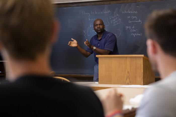 Matthew Oware teaches a class