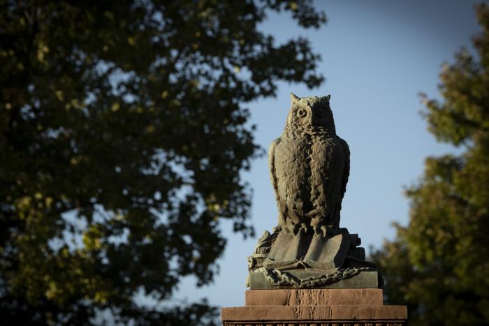 Owl sculpture on campus