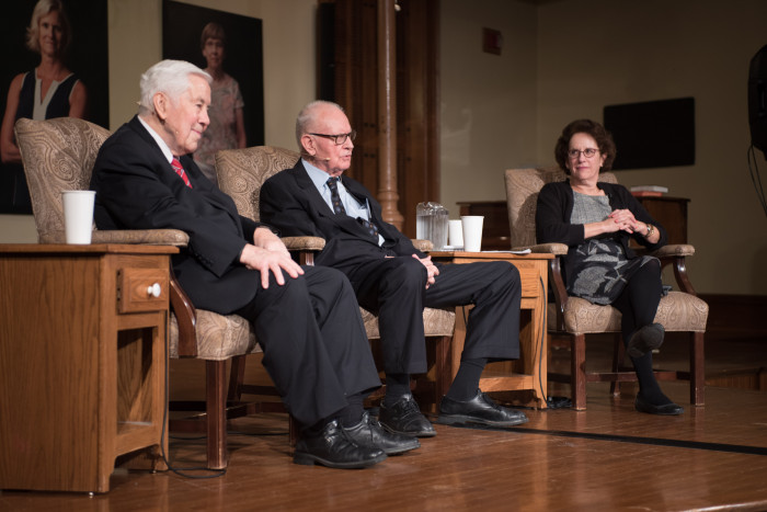 Miranda Spivack leads a panel on civility in the political sphere with Sen. Dick Lugar and Rep. Lee Hamilton.