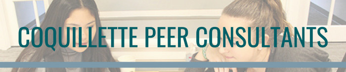 Coquillette Peer Consultants banner with students studying in the background