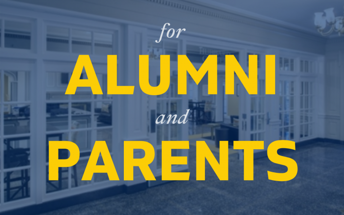An image that says Alumni and Parents and links to the page Alumni and Parents