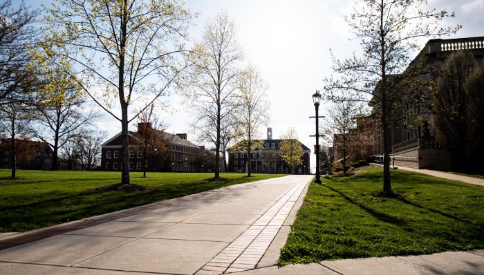 Deserted campus in April 2020