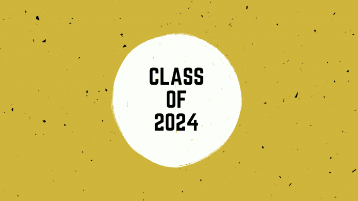 Class of 2024 banner with gold background