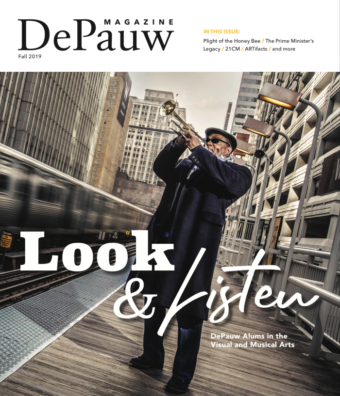 DePauw Magazine with man playing trumpet on cover