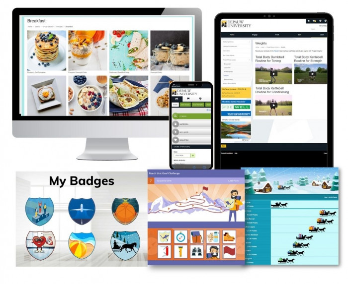 Collage of screens from Propel portal including food, tracking, badges, and contests