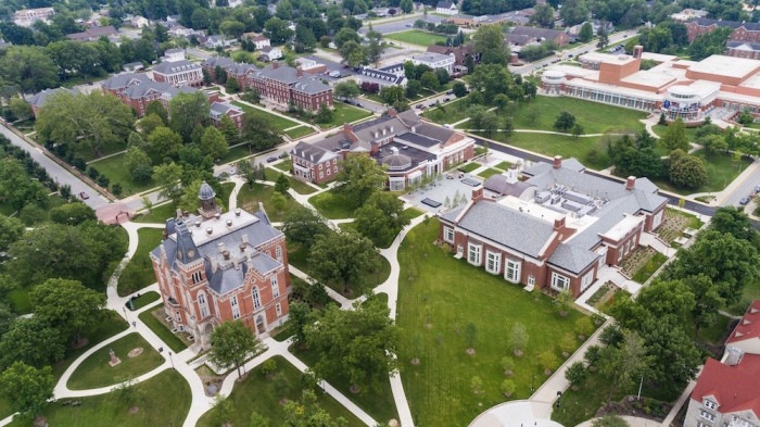Aerial shot of DePauw campus