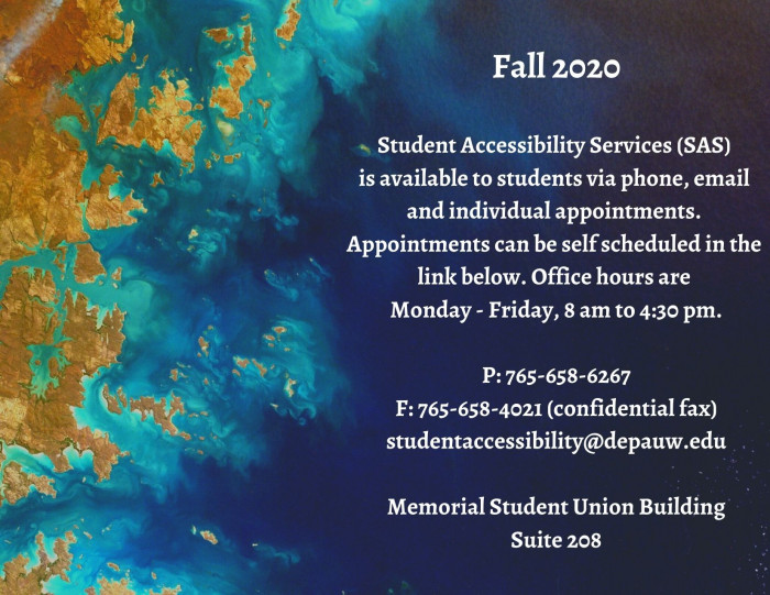 Fall 2020 Student Accessibility Services information