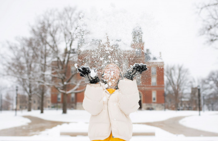 Student tosses first snow of December 2020