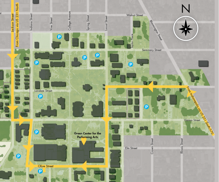 Map of campus with directions highlighting entrances from US 231 and jackson Street